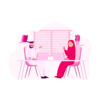 Arabische offician bespreek de illustratie van het samenwerkingswerk