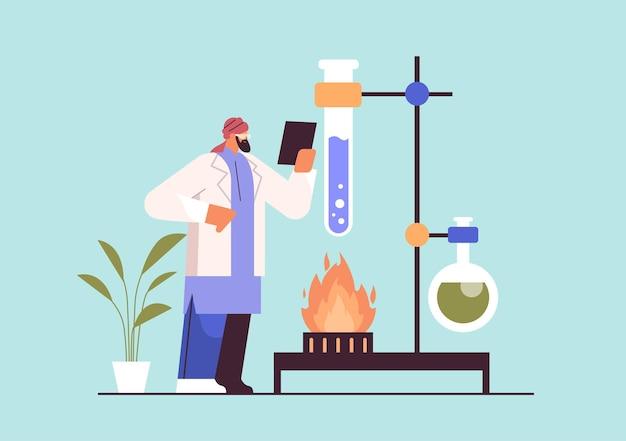 Arabische onderzoeker die met reageerbuisonderzoeker werkt die chemisch experiment maakt in laboratorium moleculaire engineering concept horizontale volledige lengte vectorillustratie
