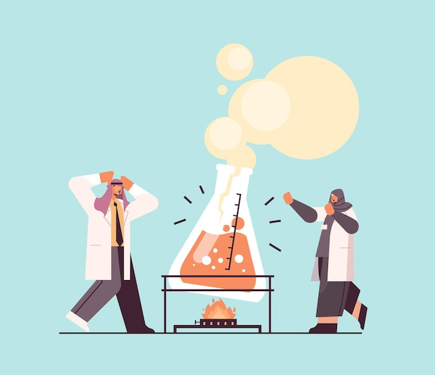 Arabische onderzoeker die met reageerbuisonderzoekers werkt die chemisch experiment maken in laboratorium moleculaire engineering concept horizontale volledige lengte vectorillustratie