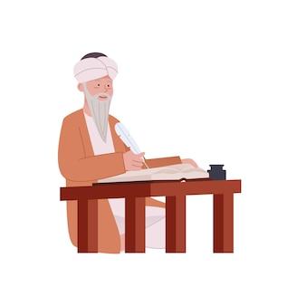 Arabische oude man met traditionele midden-oosten schrijven op papier
