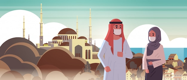 Arabische paar dragen gezichtsmaskers