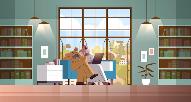 Arabische paar met creditcard met behulp van laptop online winkelen concept man vrouw bestellen van goederen samen moderne woonkamer interieur horizontale volledige lengte vectorillustratie