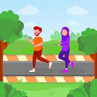 Arabische paarjogging in parkbeeldverhaalillustratie