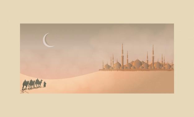 Arabische reis in de woestijn met moskee en maan. eid mubarak of ramadan celebration.
