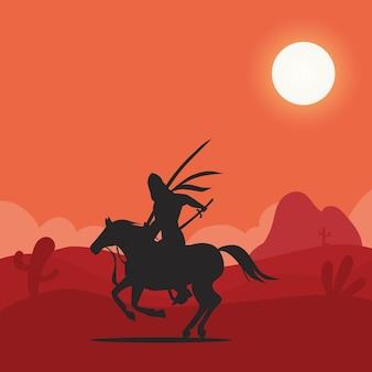 Arabische ridder te paard bij de woestijnillustratie Premium Vector
