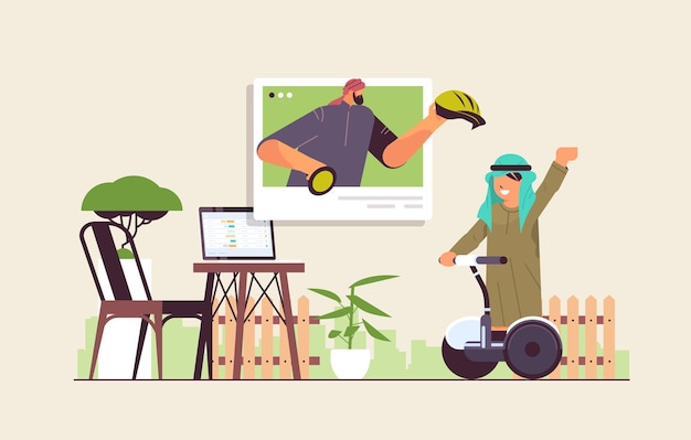 Arabische schooljongen elektrische scooter rijden met arabische instructeur in webbrowser venster online communicatie zelfisolatie concept horizontale volledige lengte vectorillustratie
