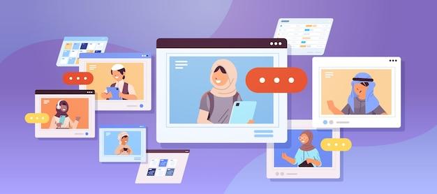Arabische schoolkinderen met behulp van digitale gadgets arabische leerlingen bespreken in webbrowser windows zelfisolatie concept horizontaal portret kopie ruimte vectorillustratie