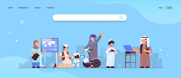 Arabische schoolkinderen met behulp van digitale gadgets schoolkinderen plezier stadsgezicht achtergrond volledige lengte horizontale vectorillustratie