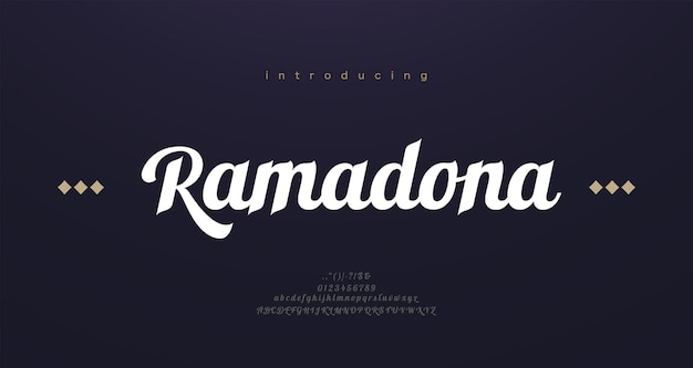 Arabische stijl lettertype alfabetletters. elegante arabische klassieke belettering. typografie moderne serif-lettertypen
