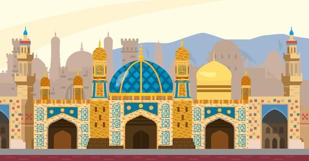 Arabische straatillustratie als achtergrond. midden-oosten stadsgezicht. moskee, torens, poorten, mozaïeken. vlakke stijl.