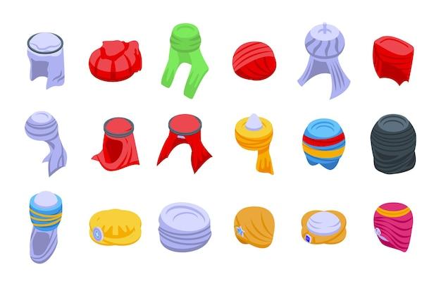 Arabische tulband pictogrammen instellen isometrische vector. arabische hoed. oosterse accessoires