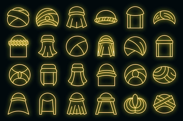 Arabische tulband pictogrammen instellen overzicht vector. arabische hoed accessoires. oosterse tulband