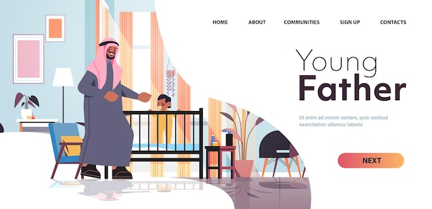 Arabische vader spelen met zoontje in wieg vaderschap ouderschap concept vader tijd doorbrengen met zijn kind thuis slaapkamer interieur volledige lengte horizontale kopie ruimte vectorillustratie