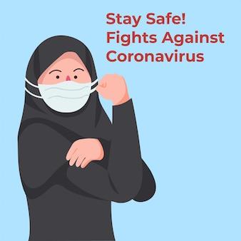Arabische vrouw die medisch masker draagt om covid-19 te bestrijden