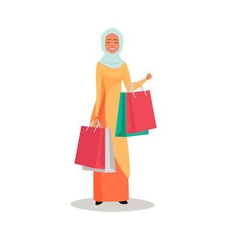 Arabische vrouw karakter met hijab houdt kleurrijke boodschappentassen