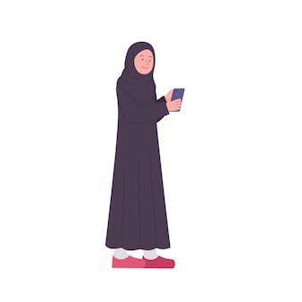 Arabische vrouw kijkt naar de vlakke afbeelding van smartphone