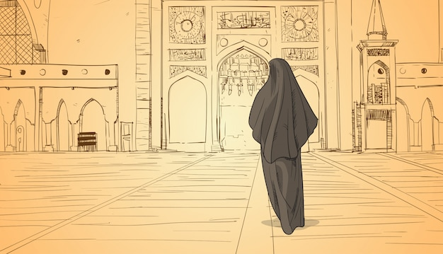 Arabische vrouw komt naar moskee moslim religie bouwen ramadan kareem heilige maand