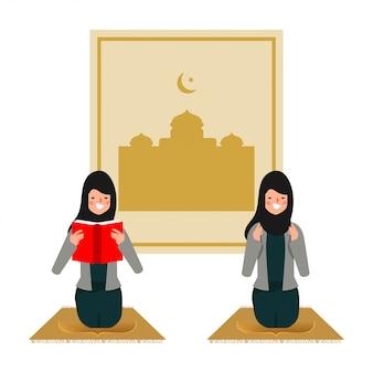 Arabische vrouw of moslimvrouw in bid karakter. ramadan kareem achtergrond.