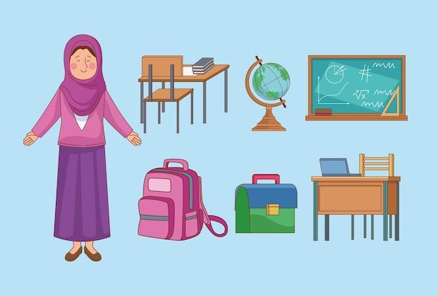 Arabische vrouwelijke leraar met benodigdheden