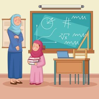 Arabische vrouwelijke leraar met student