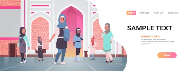Arabische vrouwen komen naar nabawi moskee bouwen moslim religie concept arabische mensen in traditionele kleding ramadan kareem heilige maand horizontale platte volledige lengte kopie ruimte