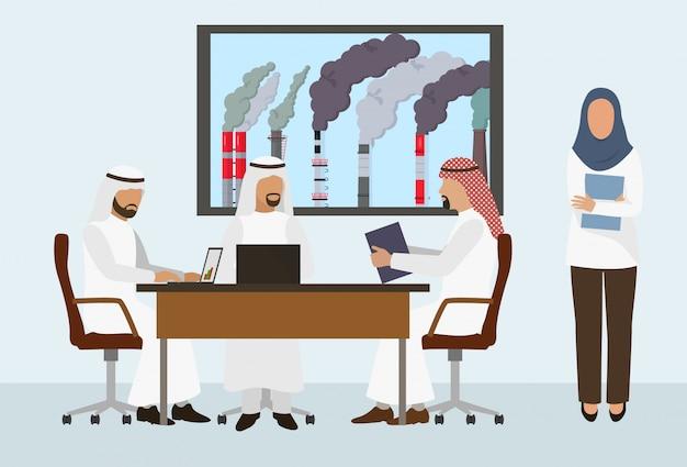 Arabische zakenlieden sjeiks ontmoeten, overeenkomst ondertekenen, deal sluiten