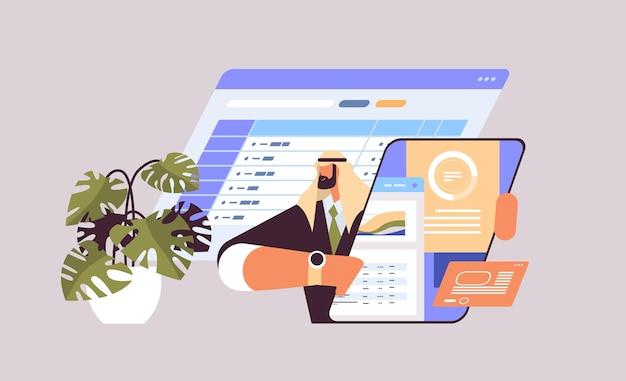 Arabische zakenman analyseren van gegevens op tablet pc scherm werkproces concept horizontale portret kopie ruimte vectorillustratie