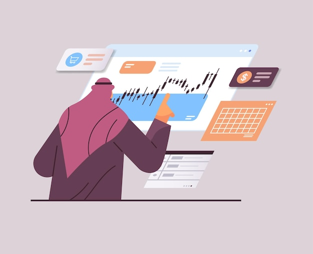 Arabische zakenman die financiële aandelenmarkt monitort en grafieken en grafieken analyseert beursconcept portret horizontale vectorillustratie