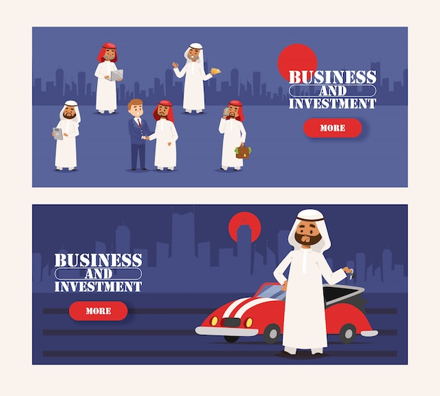 Arabische zakenman die traditionele kleding draagt en vergadering met europese mensenbanner heeft