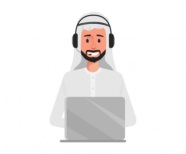 Arabische zakenman in callcenter karakter.
