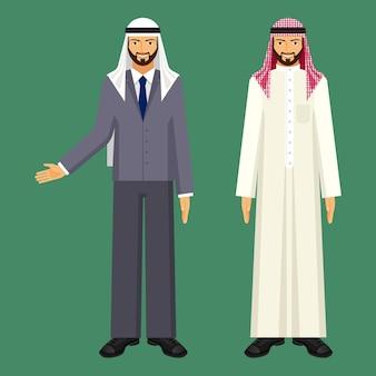 Arabische zakenman in wit gewaad en geruite arafat en in grijs kantoorpak met blauwe stropdas en traditionele hoofddeksels geïsoleerde vectorillustraties set.