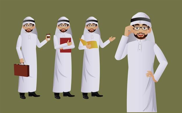 Arabische zakenman met verschillende poses. vector