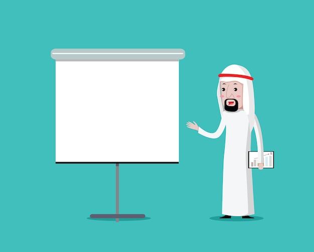 Arabische zakenman op presentatie, vectorbeeldverhaal