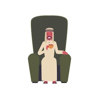 Arabische zakenman stripfiguur glimlachend en zittend in hoge stoel het drinken van thee