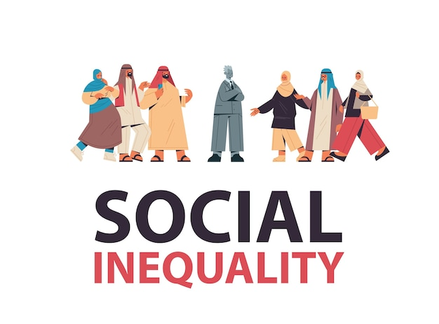 Arabische zakenmensen spottend door depressieve man pesten sociale ongelijkheid rassendiscriminatie