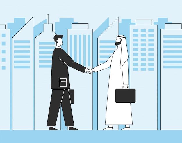Arabische zakenmensen, zakelijke handdruk. mosliminvesteerders op de achtergrond van stadswolkenkrabbers.