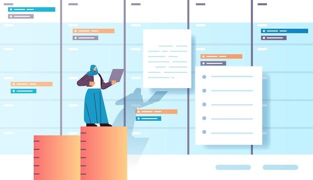 Arabische zakenvrouw die werkt aan laptop business planning multitasking time management concept