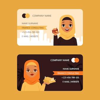 Arabische zakenvrouw financiën consulting set van visitekaartjes