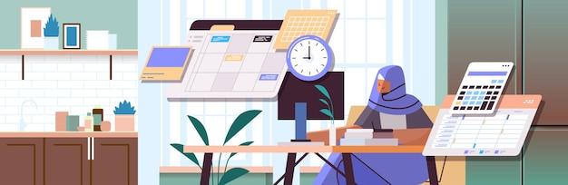 Arabische zakenvrouw op de werkplek planning dag planning afspraak tijd management concept portret horizontale vectorillustratie