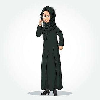 Arabische zakenvrouw stripfiguur in traditionele kleding met een vergrootglas