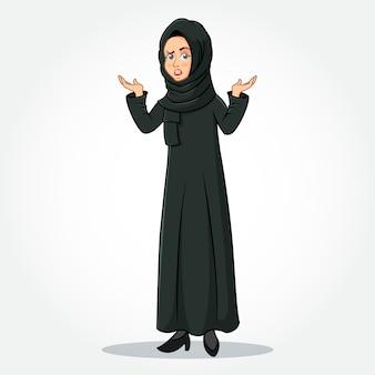 Arabische zakenvrouw stripfiguur in traditionele kleding met verward gebaren