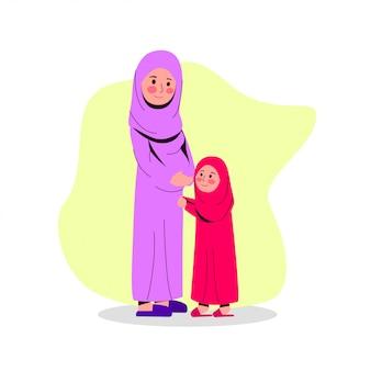 Arabische zwangere moeder met haar dochter platte vectorillustratie