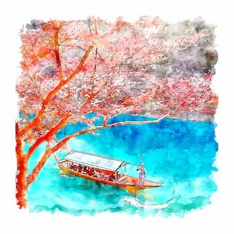 Arashiyama kyoto japan aquarel schets hand getrokken illustratie