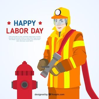 Arbeid dag achtergrond met brandweerman