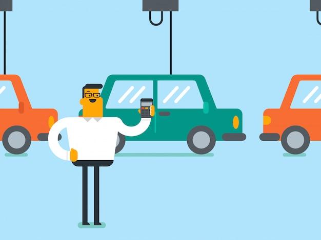 Arbeider die geautomatiseerde lopende band voor auto controleert