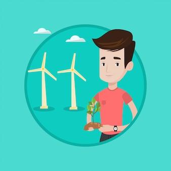 Arbeider die van windpark groene kleine installatie houden.