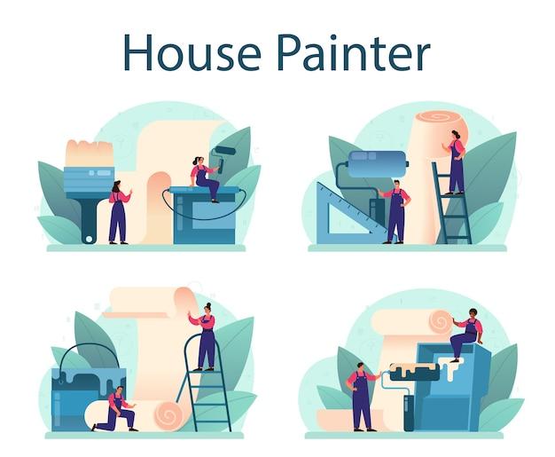 Arbeider die wallpapers op de muur lijmen