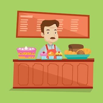 Arbeider die zich achter de teller bij de bakkerij bevindt.