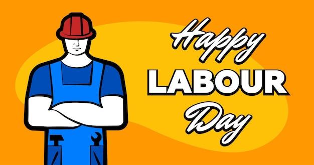 Arbeider man in rode bouwhelm en inscriptie gelukkige dag van de arbeid kan wenskaart poster of