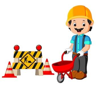 Arbeider met bouwteken